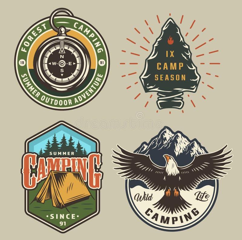 葡萄酒野营的五颜六色的象征 向量例证