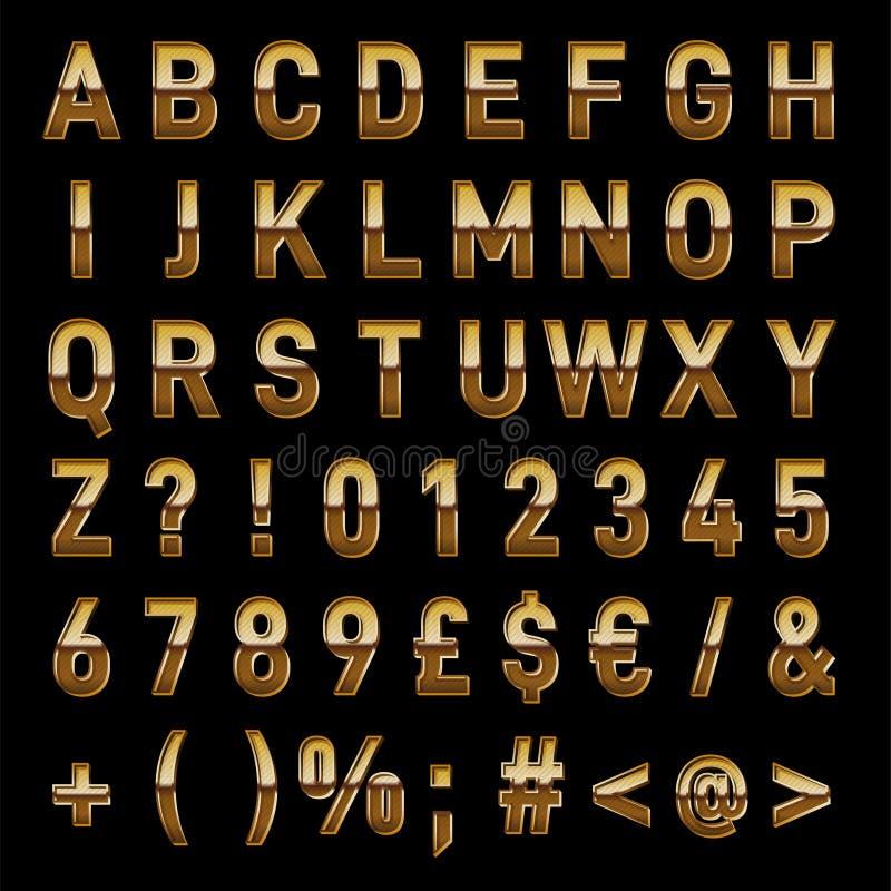 葡萄酒金子传染媒介字母表立即下载 免版税库存图片