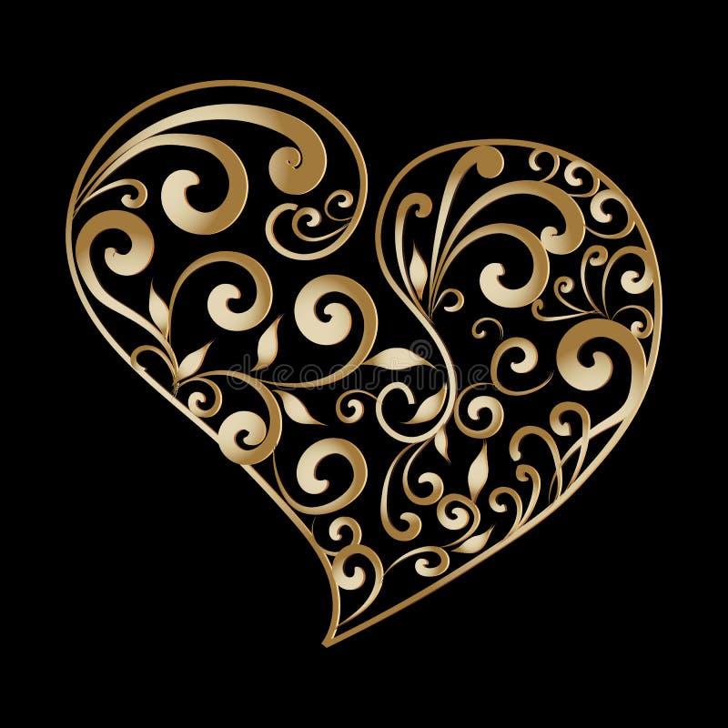葡萄酒金子装饰爱心脏样式 手拉的线艺术 库存例证