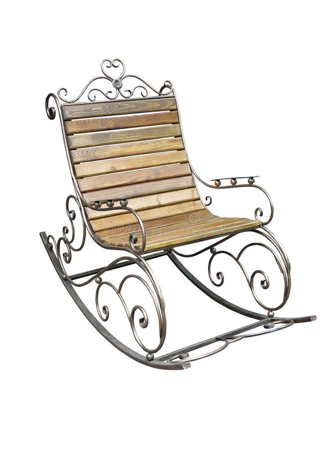 葡萄酒金属木伪造的摇椅被隔绝在白色 免版税库存图片