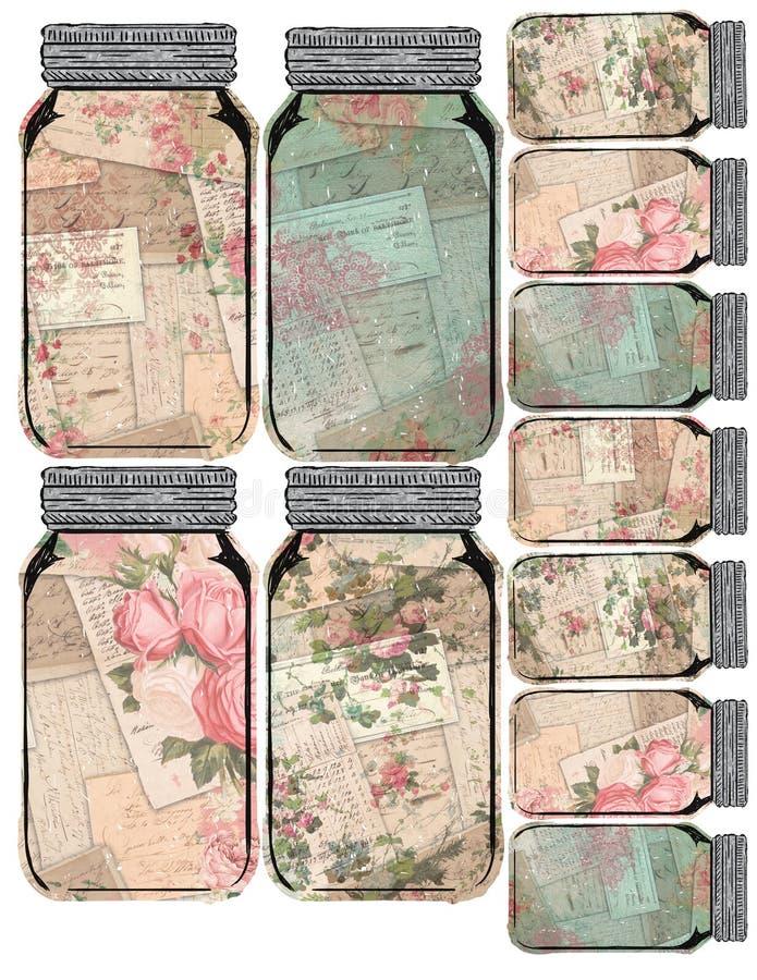 -葡萄酒金属螺盖玻璃瓶拼贴画花卉标记-困厄的可印的标记板料-农舍样式 皇族释放例证