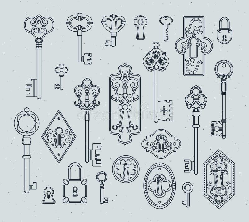 葡萄酒钥匙和挂锁中世纪门的 手拉的传染媒介例证 皇族释放例证