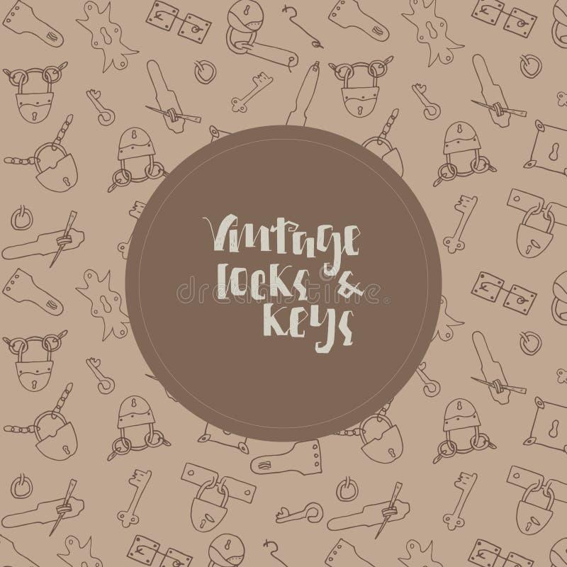 葡萄酒钥匙和锁背景 向量例证