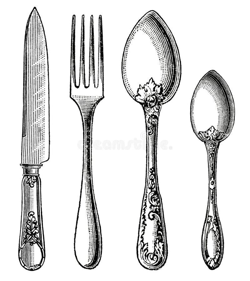 葡萄酒银器。刀子、叉子和匙子 库存照片