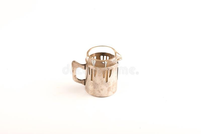 葡萄酒银色杯子 免版税库存图片