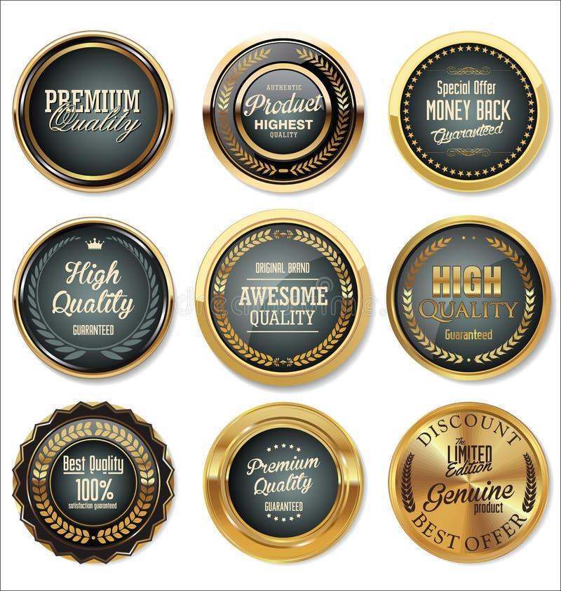 葡萄酒销售标签汇集设计元素,优质质量 皇族释放例证