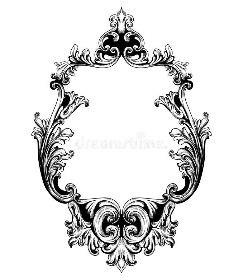 葡萄酒镜子框架传染媒介 巴洛克式的富有的设计元素装饰 皇家样式装饰品 向量例证