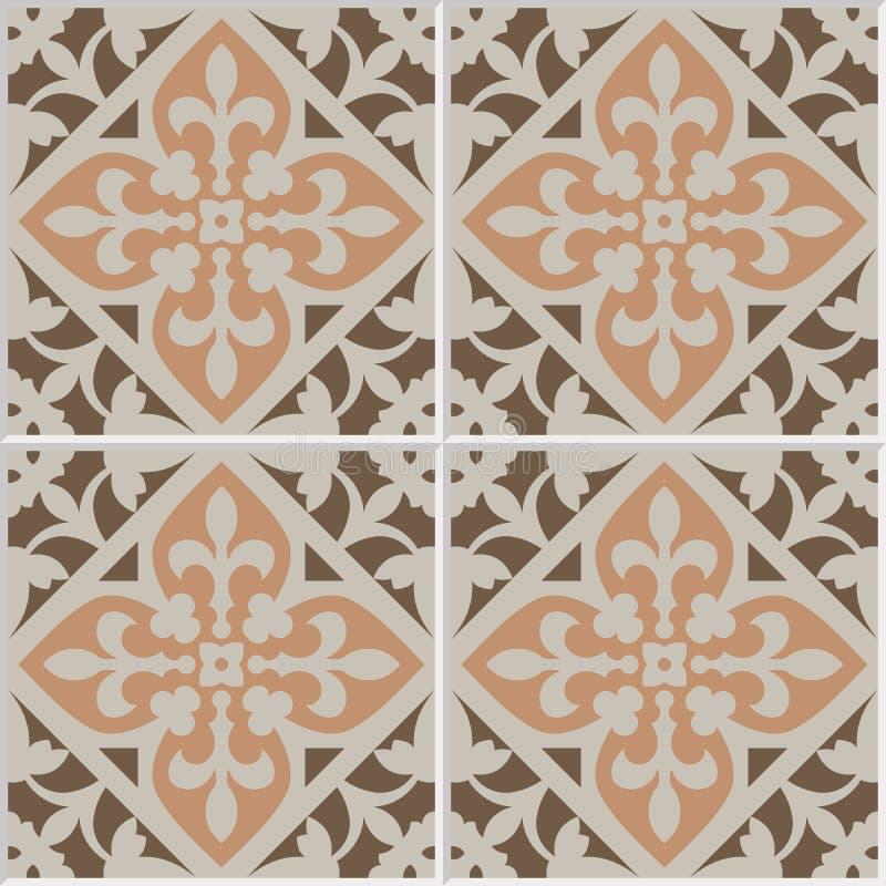 葡萄酒陶瓷拼花地板瓦片无缝的样式 库存例证