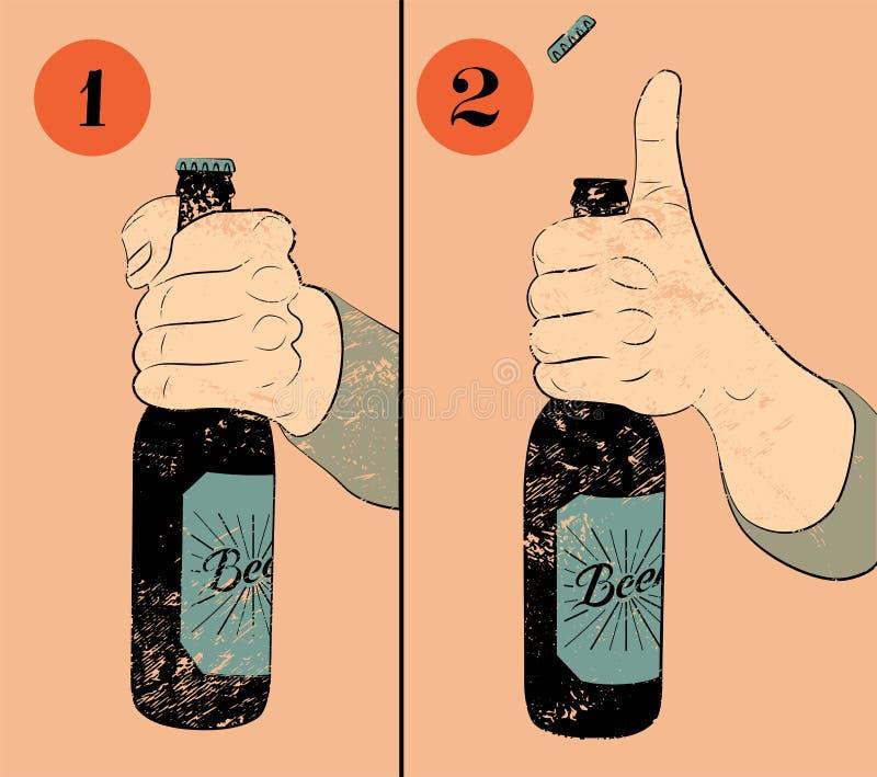 葡萄酒难看的东西样式啤酒海报 打开的一个瓶幽默海报指示啤酒 手举行一个瓶啤酒 向量 向量例证