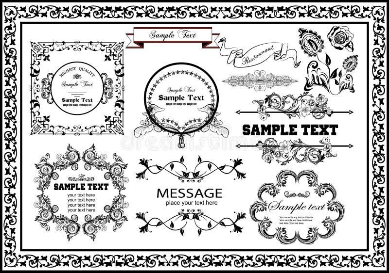葡萄酒集合花卉装饰框架好为您的设计师 库存例证