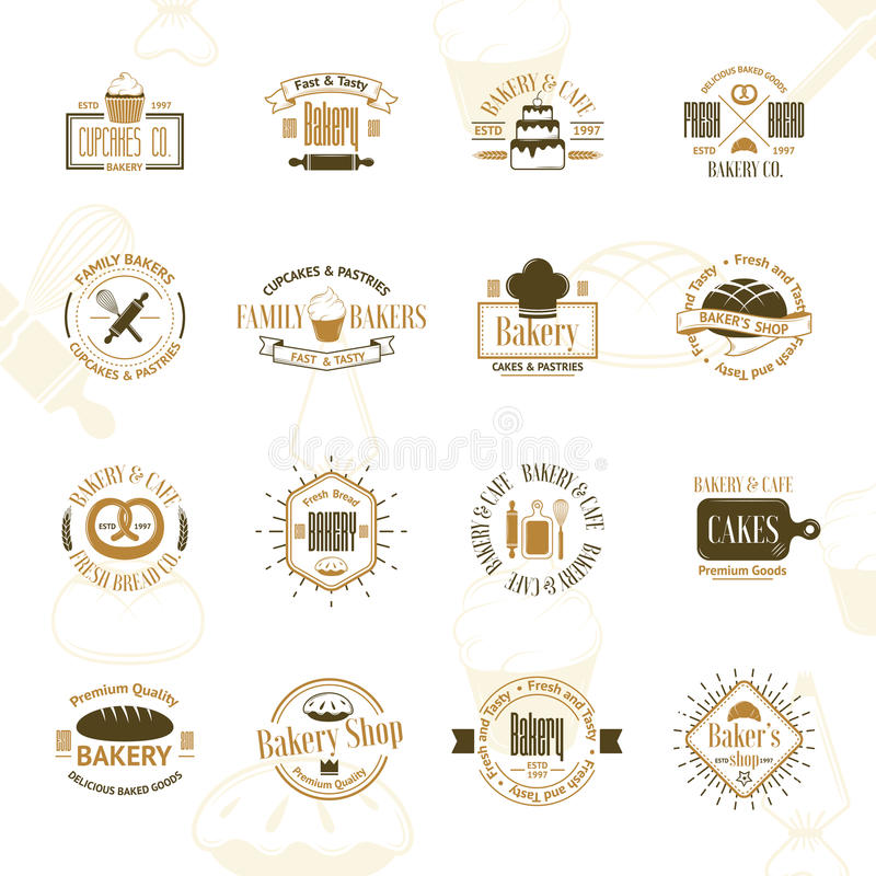 葡萄酒面包店证章,标签和商标 皇族释放例证