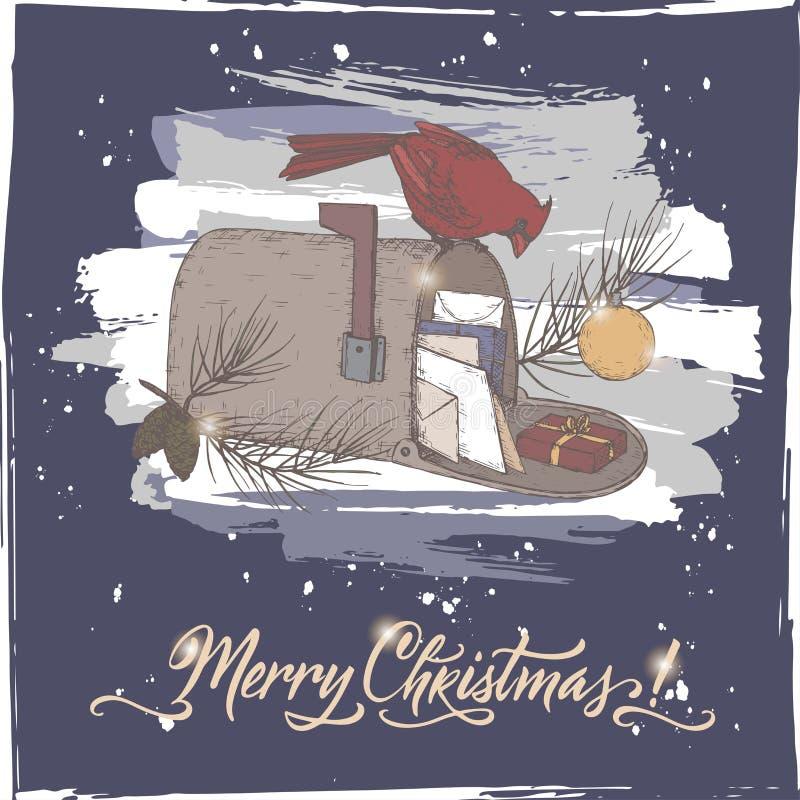 葡萄酒颜色与主要鸟的圣诞卡在邮箱,杉木分支和假日掠过在蓝色背景的字法 皇族释放例证