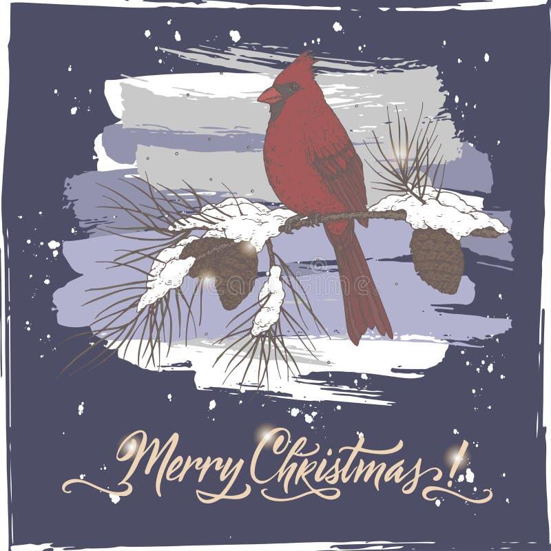 葡萄酒颜色与主要鸟的圣诞卡在邮箱,杉木分支和假日掠过在蓝色背景的字法 库存例证