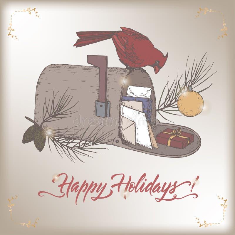 葡萄酒颜色与主要鸟的圣诞卡在邮箱,杉木分支和假日掠过字法 向量例证