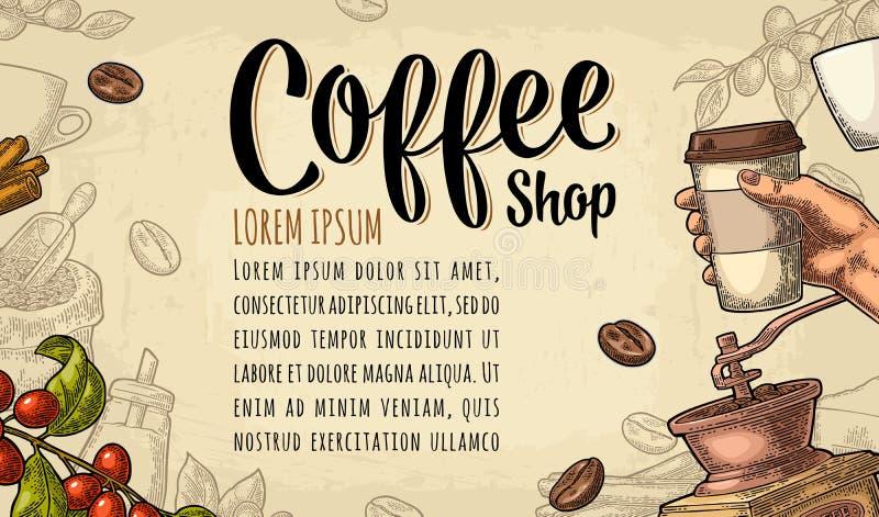 模板海报用拿着一次性杯子咖啡的手 皇族释放例证
