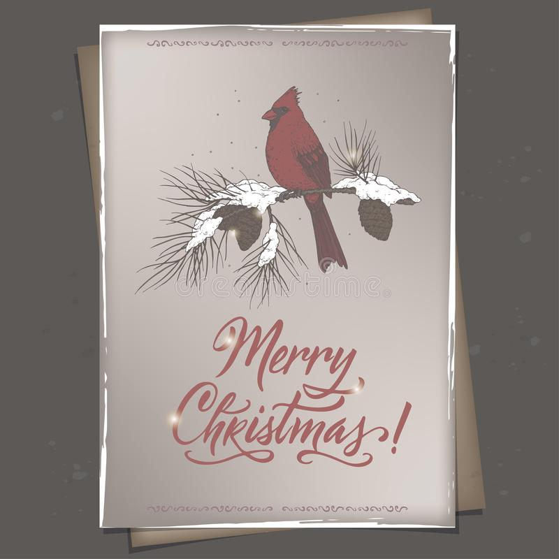 葡萄酒颜色圣诞节A4格式与主要鸟的贺卡在邮箱,杉木分支和假日掠过字法 库存例证