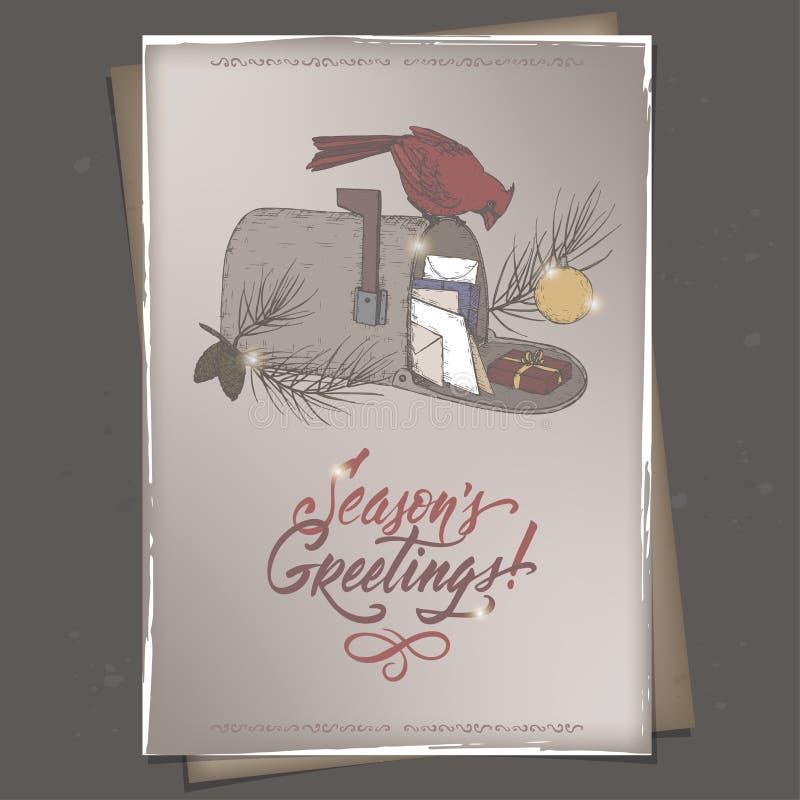葡萄酒颜色A4格式与主要鸟的圣诞卡在邮箱,杉木分支和假日掠过字法 向量例证