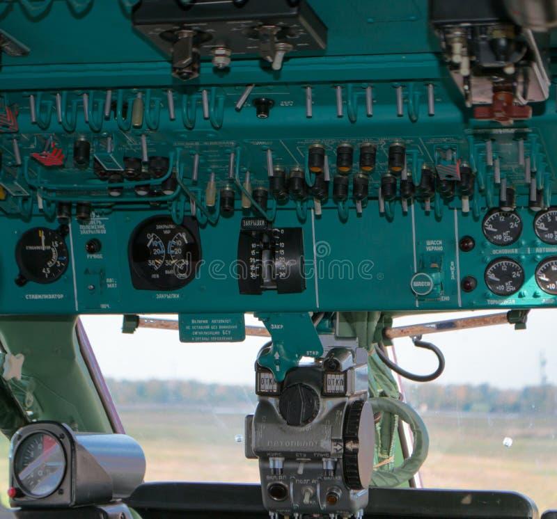 葡萄酒飞机座舱细节 免版税库存照片