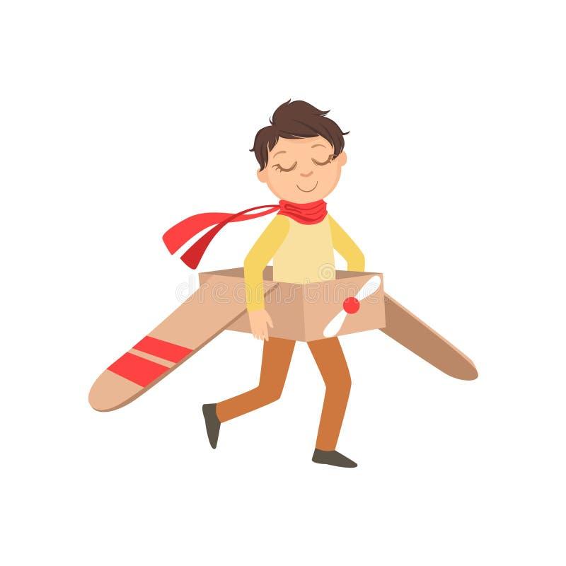 葡萄酒飞行员使用皮革的成套装备的小男孩驾驶与纸板手工制造飞机的平面比赛 皇族释放例证