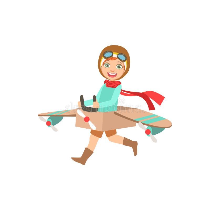 葡萄酒飞行员使用皮革的成套装备的小男孩驾驶与飞机的服装的平面比赛 库存例证