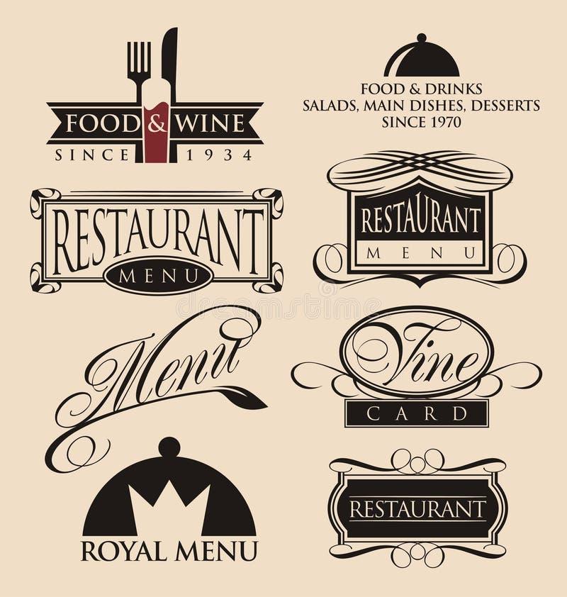 葡萄酒餐馆商标汇集 库存例证