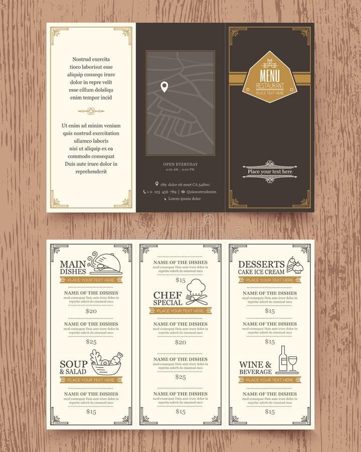 葡萄酒餐馆菜单设计小册子模板 皇族释放例证