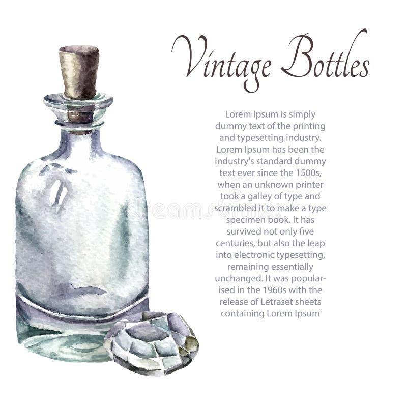 葡萄酒香水瓶 向量例证