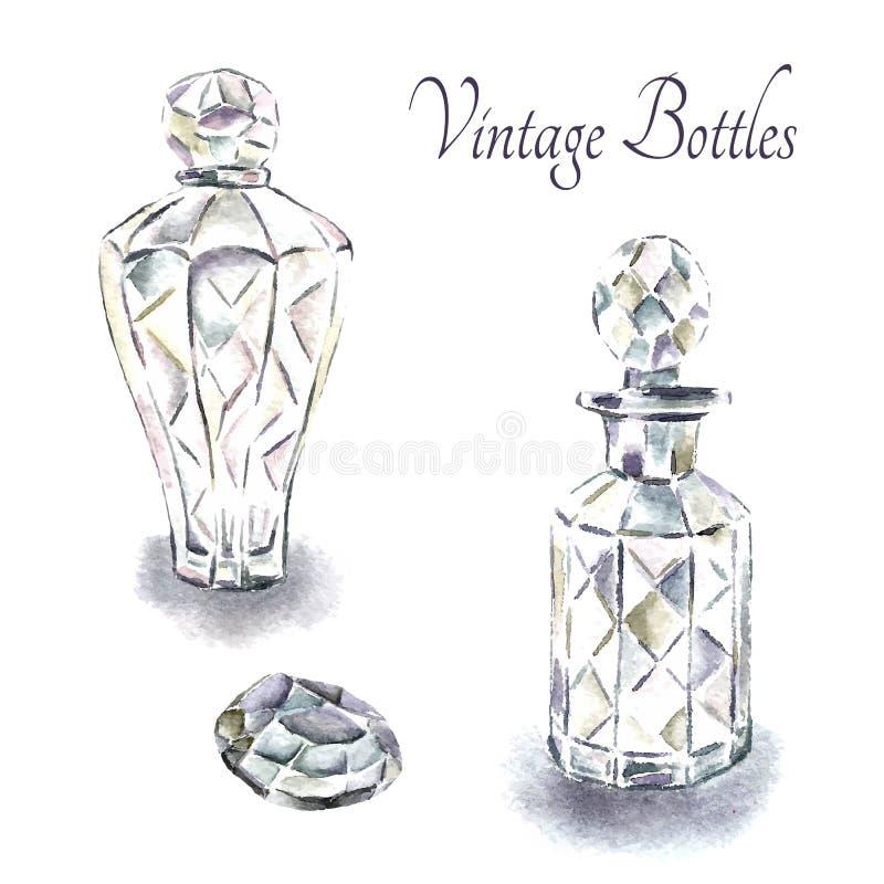 葡萄酒香水瓶 皇族释放例证