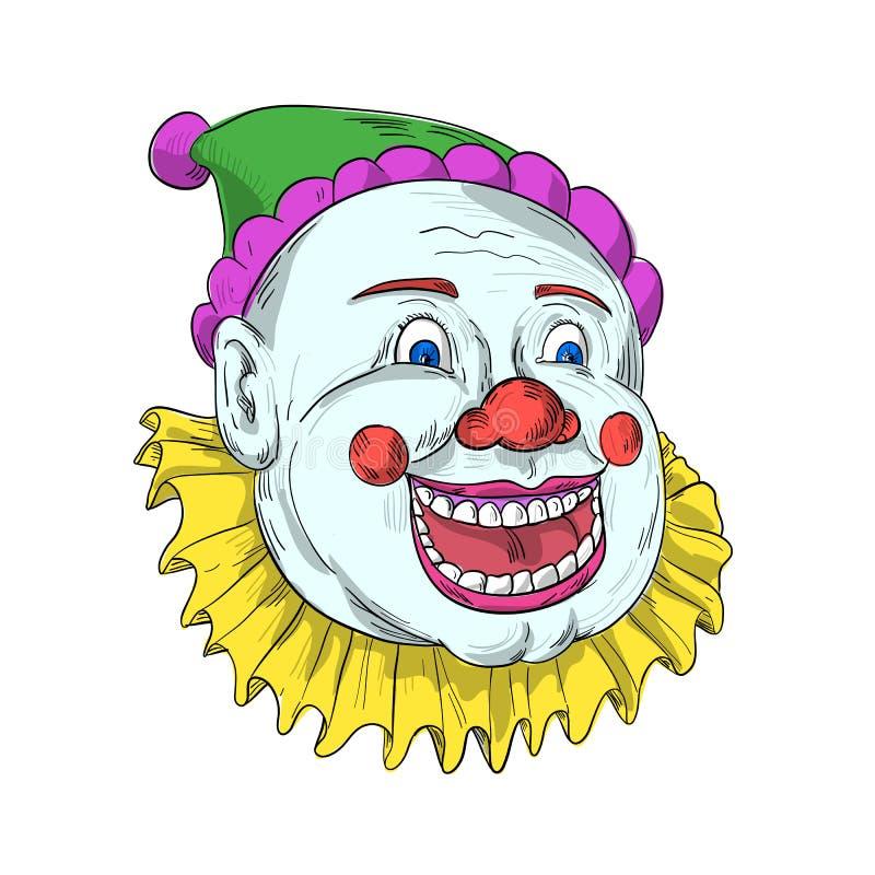 葡萄酒马戏团小丑微笑的图画 皇族释放例证