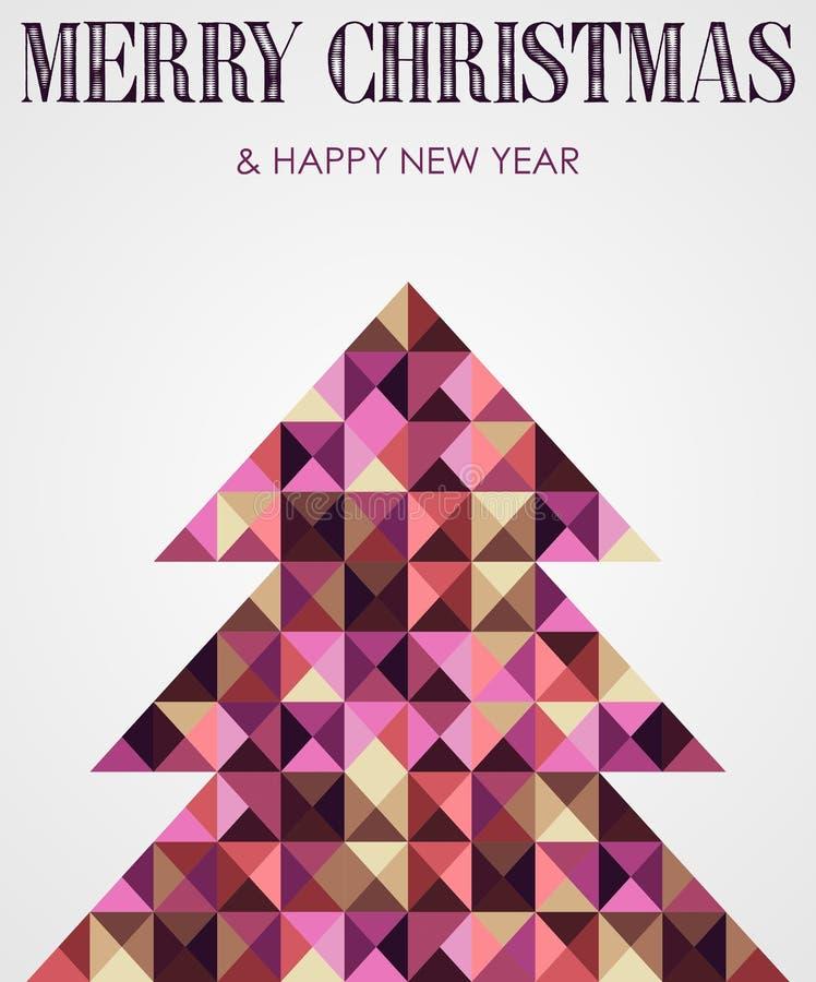 葡萄酒马赛克圣诞节杉树 库存例证