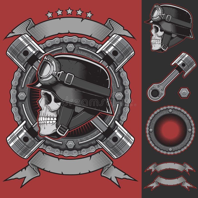 葡萄酒骑自行车的人象征设计元素 皇族释放例证