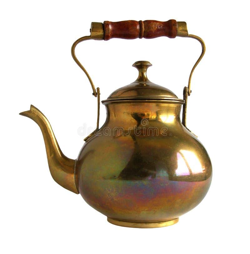 葡萄酒黄铜或铜茶壶 免版税库存照片