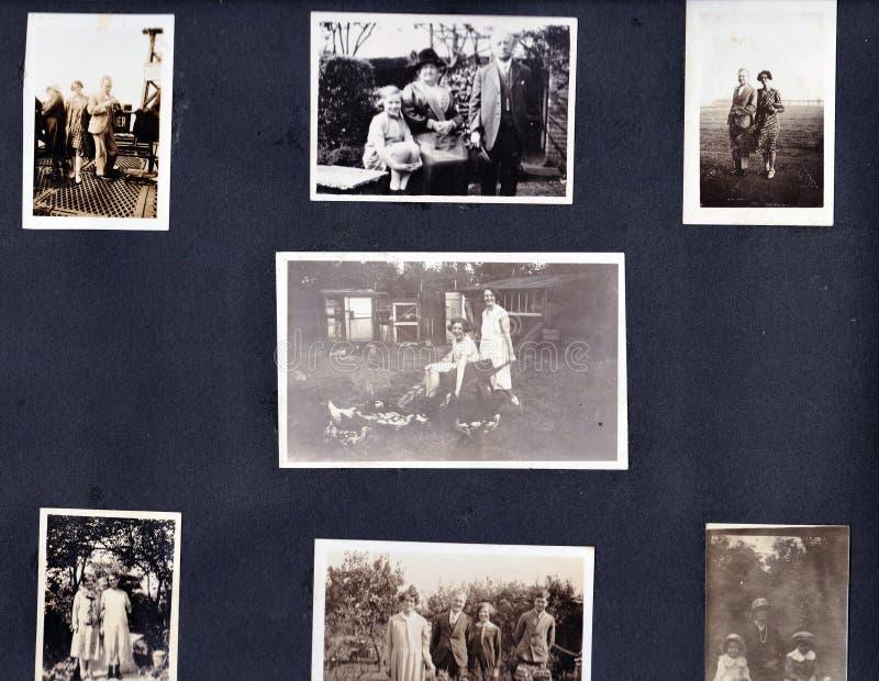 葡萄酒黑白照片全家福象册20世纪30年代- 20世纪60年代 库存照片