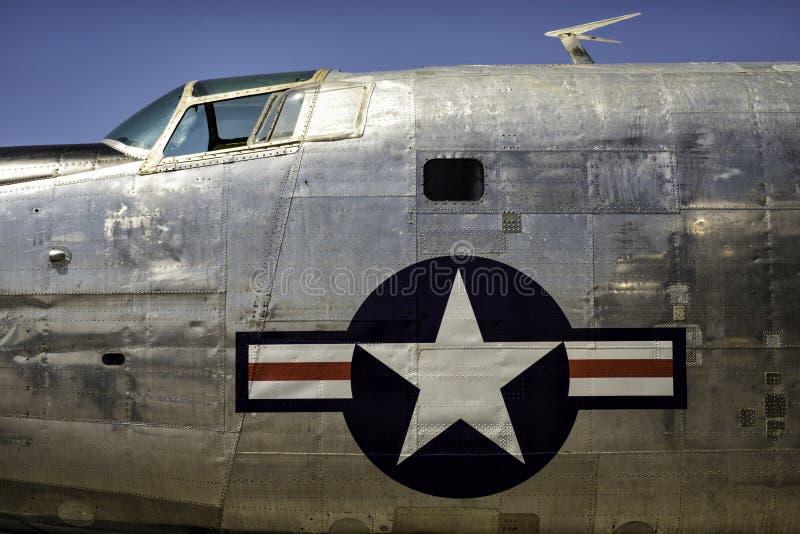 葡萄酒20世纪50年代和20世纪60年代美国轰炸机机体 图库摄影