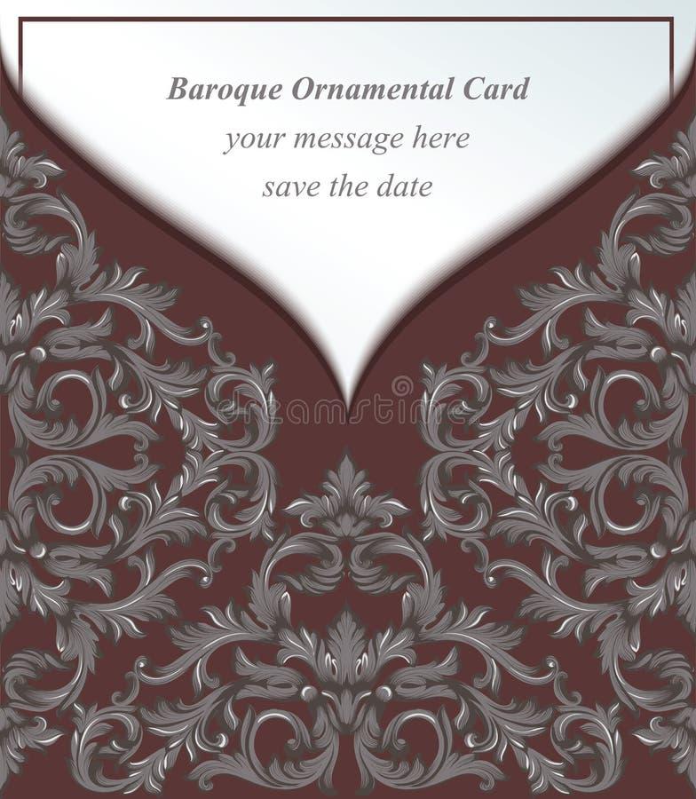 葡萄酒巴洛克式的信封邀请卡片皇家样式 传染媒介装饰背景 豪华精美经典装饰品 库存例证
