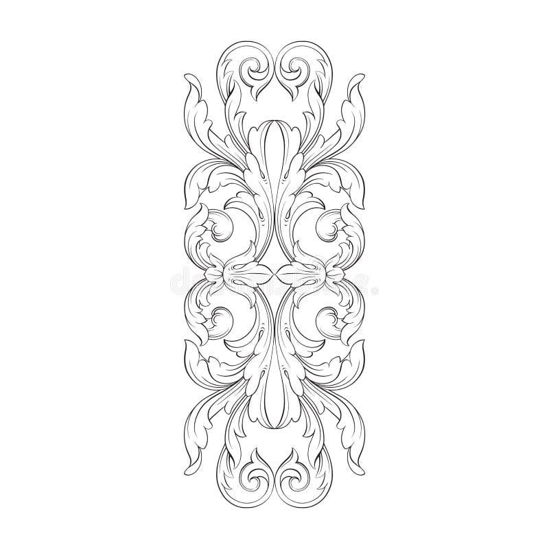 葡萄酒巴洛克式的框架板刻纸卷装饰品 皇族释放例证