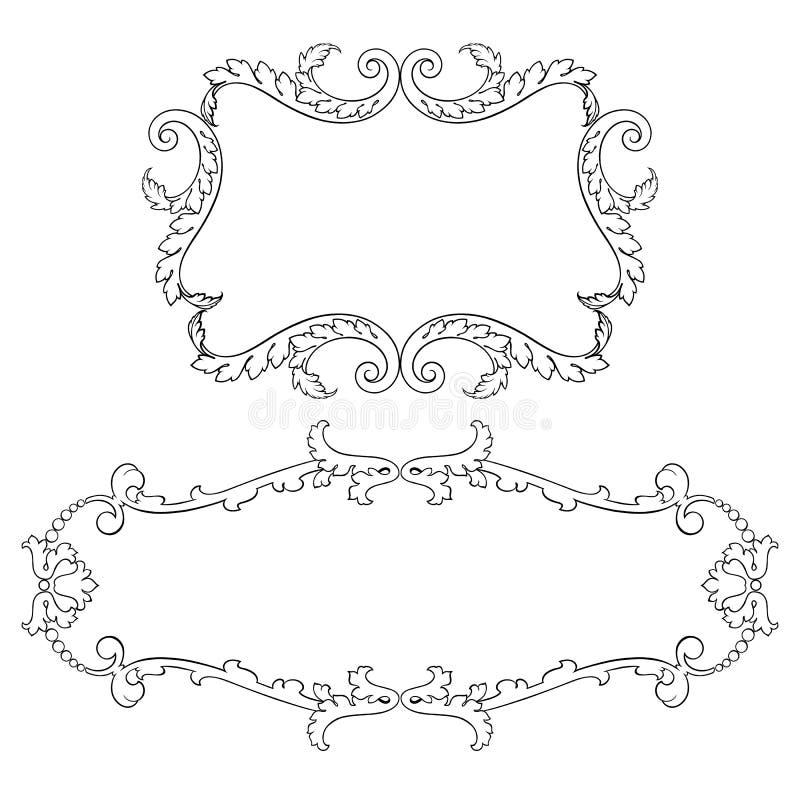葡萄酒巴洛克式的框架集合纸卷装饰品传染媒介 库存例证