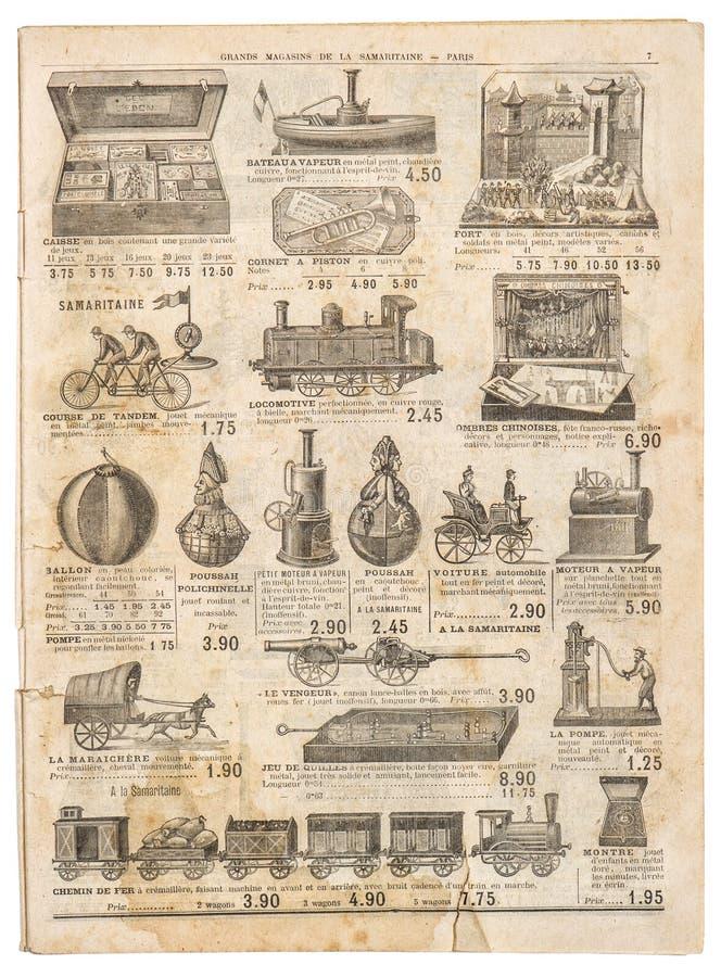 葡萄酒维多利亚女王时代戏弄汇集古色古香的广告老engrav 免版税库存图片