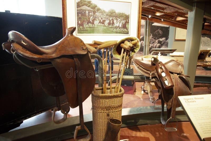 葡萄酒1928年在潘洛斯遗产博物馆的马球齿轮 免版税库存图片