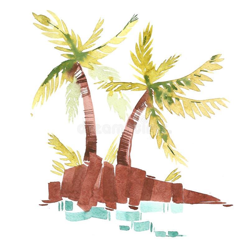 葡萄酒水彩有印刷术设计、树和字法的夏天棕榈 热带集合,时尚, T恤杉 皇族释放例证