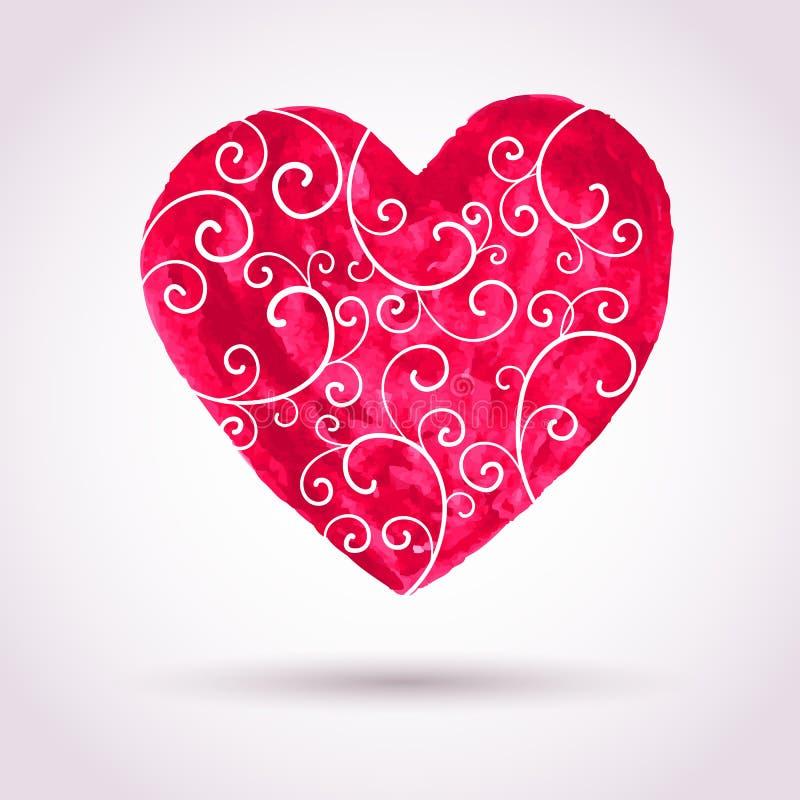 葡萄酒水彩有花边的心脏,情人节传染媒介卡片backgr 皇族释放例证