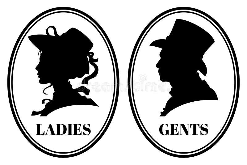 葡萄酒洗手间wc与夫人的传染媒介标志和绅士在维多利亚女王时代的帽子和衣裳朝向 库存例证