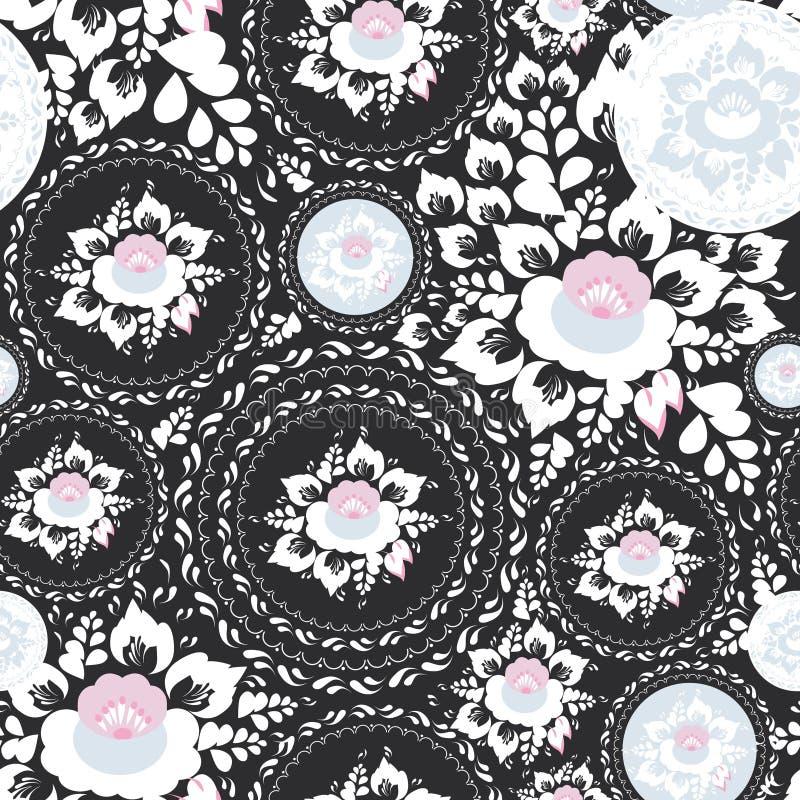 葡萄酒破旧的别致的无缝的装饰品,与桃红色和白花和叶子的样式在黑背景 向量 皇族释放例证