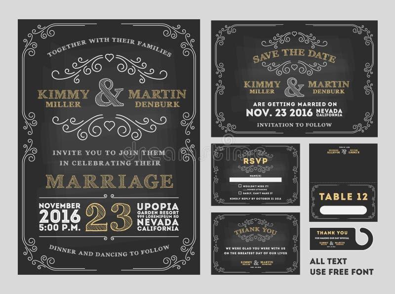 葡萄酒黑板婚礼邀请设计集合 库存例证