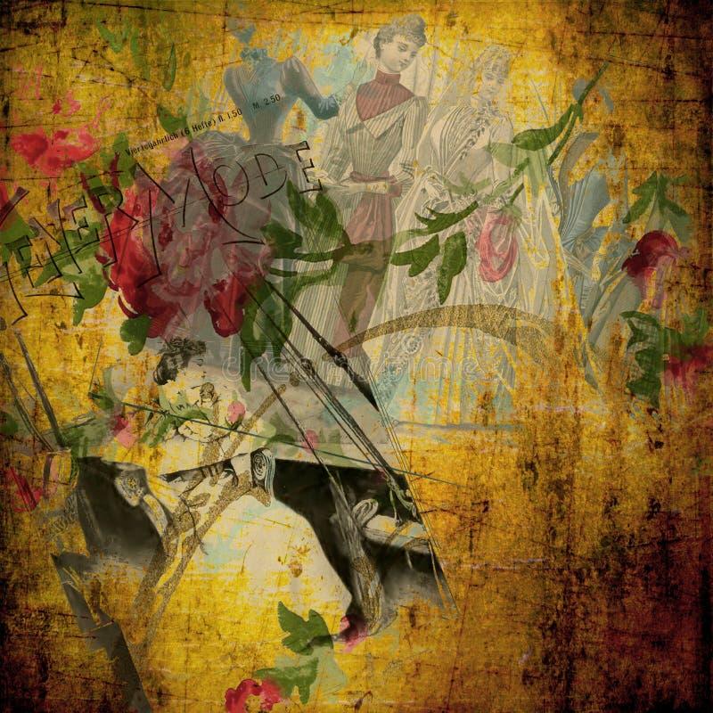 葡萄酒-维多利亚女王时代的拼贴画剪贴薄背景框架 向量例证