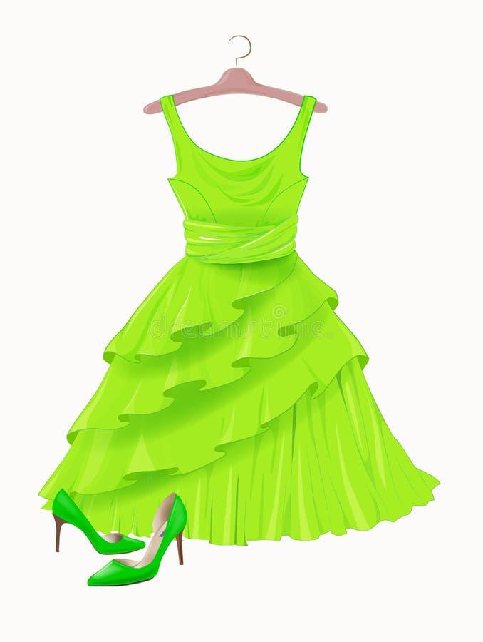 葡萄酒绿色丝绸礼服和高跟鞋 皇族释放例证