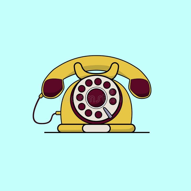 葡萄酒黄色电话 线艺术平的传染媒介例证 皇族释放例证