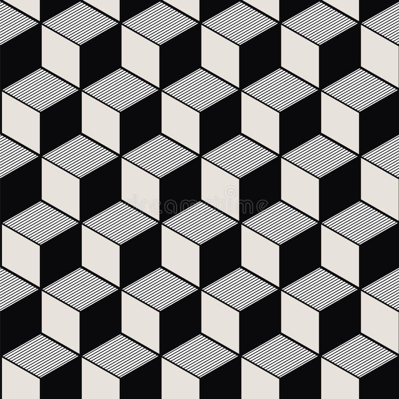 葡萄酒黑色白色立方体线几何样式的无缝的背景图象 库存例证