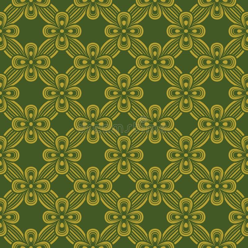 葡萄酒绿色金黄丝带十字架的无缝的背景图象 库存例证