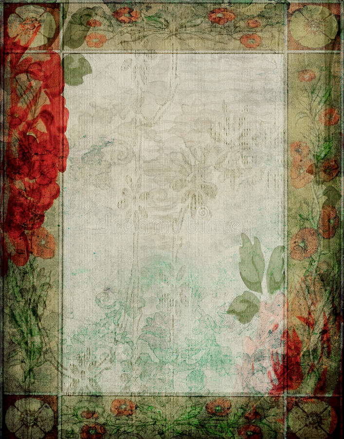 葡萄酒-花卉庭院剪贴薄背景框架 向量例证